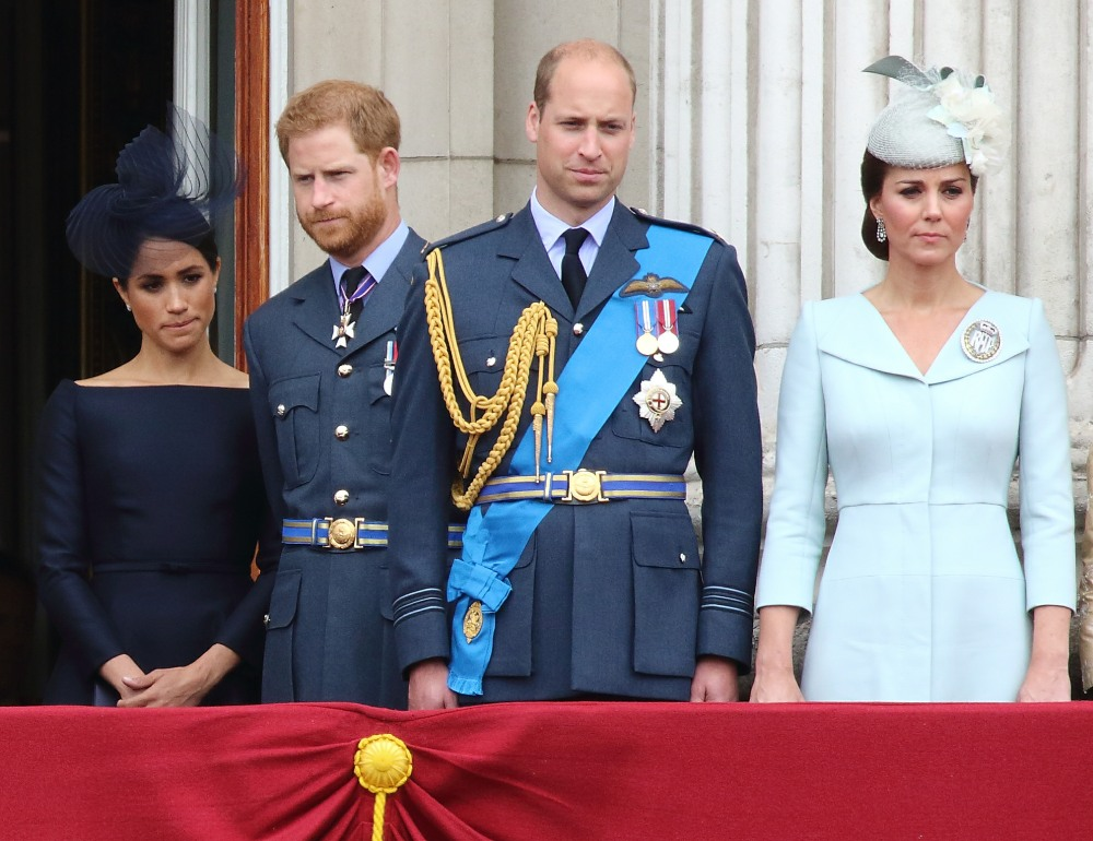 Meghan Duchess of Sussex, Prince Harry, Prince William, Catherine Duchess of Cambridge at the 100th Anniversary of the Royal Air Force, Buckingham Palace, London, UK on Tuesday 10th July 2018