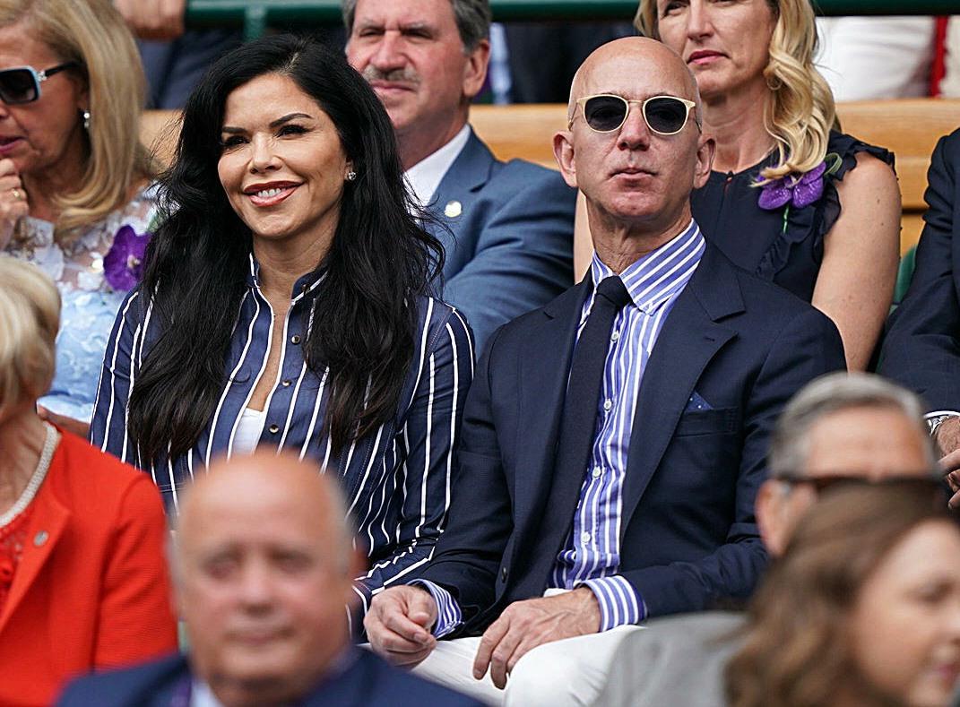 Lauren Sanchez and Jeff Bezos watch the Wimbledon Men's Singles Final on Centre Court. London, United Kingdom - Sunday July 14th, 2019.