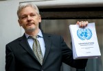 Julian Assange, Wikileaks founder speaks from the Ecuadorian Embassy, London.