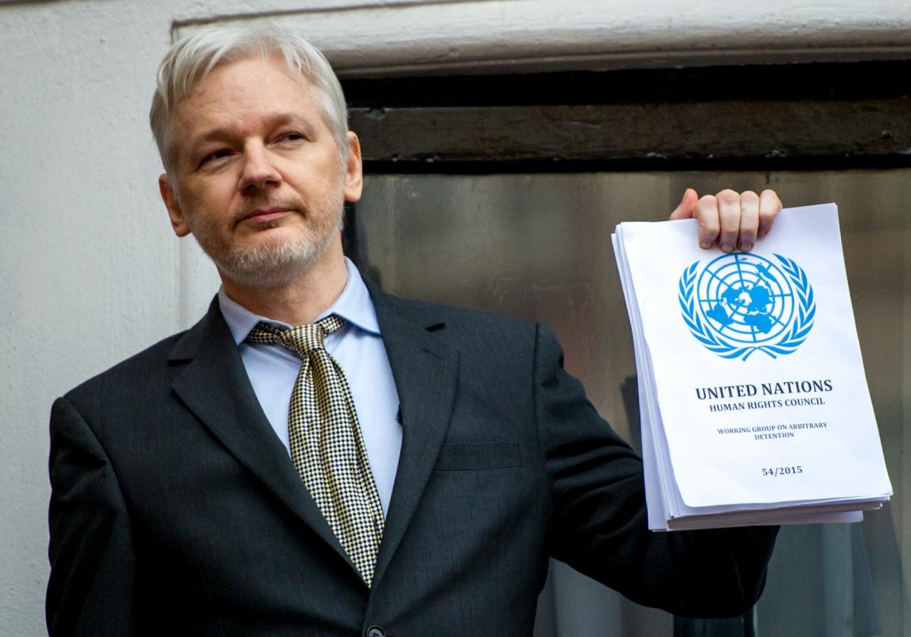 Julian Assange, Wikileaks founder speaks from the Ecuadorian Embassy, London.
