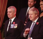 (L-R) Princess Anne, Princess Royal, Camilla, Duchess of Cornwall, Prince Andrew, Duke of York, Prince Harry, Duke of Sussex, Meghan, Duchess of Sussex and Prime Minister, Boris Johnson attend the annual Royal British Legion Festival of Remembrance at the