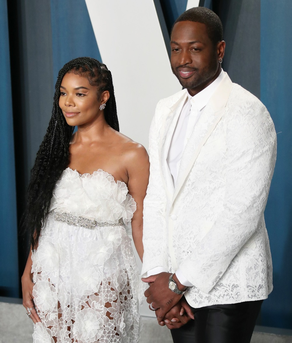 Gabrielle Union, Dwyane Wade arrive at the 2020 Vanity Fair Oscar Party held at the Wallis Annenberg...