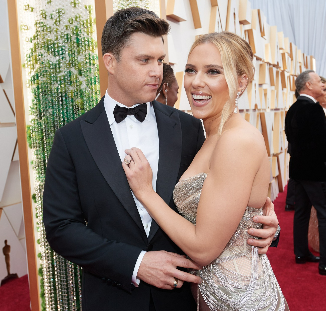 Oscar® nominee, Scarlett Johansson and Colin Jost arrive on the red carpet of The 92nd Oscars® at...
