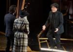 Diane Keaton and Keanu Reeves present the Oscar® for Original Screenplay to Bong Joon Ho and Han...
