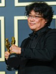 Bong Joon Ho poses with the Oscar for Best Picture in the film Parasite during the the 92nd Academy Awards, 2020 on Sunday 9 February 2020