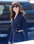 Dakota Johnson arrives to a radio station in New York, NY