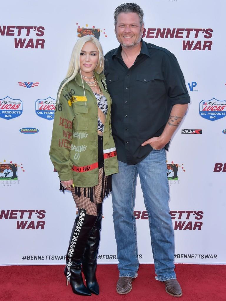 Gwen Stefani and Blake Shelton arrive at the Los Angeles premiere of Forrest Films' 'Bennett's War'