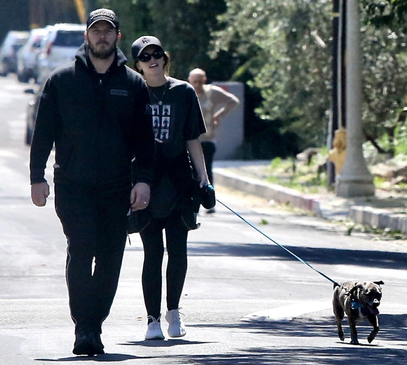 Chris Pratt and Katherine Schwarzenegger go for a walk the extended family