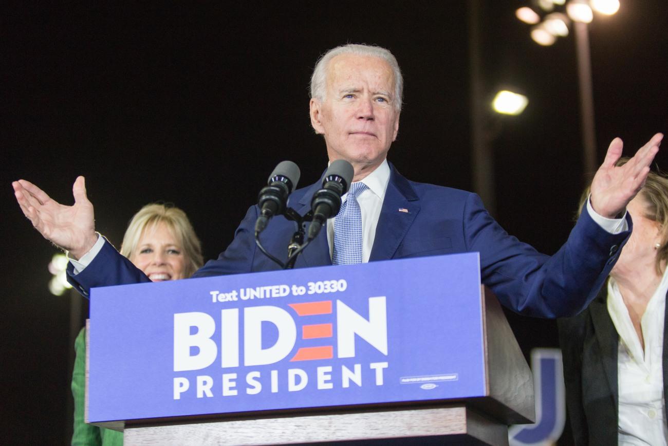 Former Vice President Joe Biden, 2020 Democratic presidential candidate, speaks while his wife Jill...
