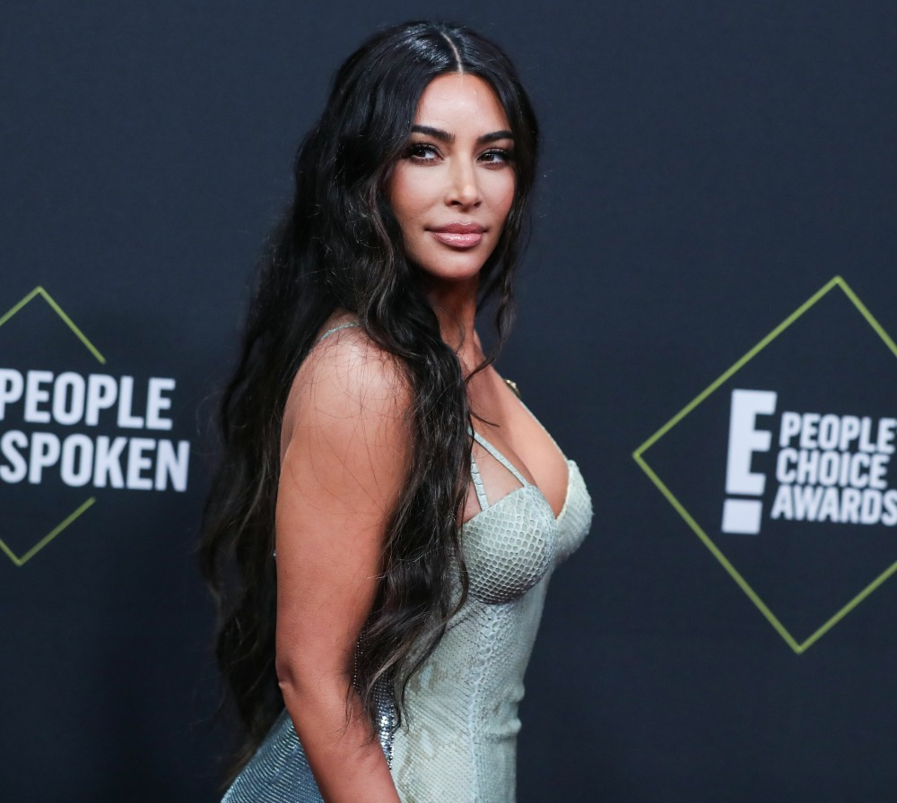Kim Kardashian West wearing Versace arrives at the 2019 E! People's Choice Awards held at Barker Hangar on November 10, 2019 in Santa Monica, Los Angeles, California, United States.