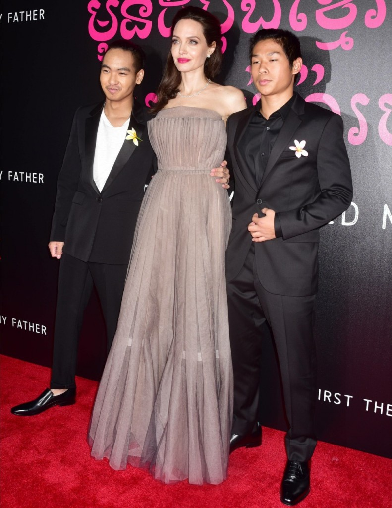 Angelina Jolie, Maddox Jolie-Pitt, Pax Jolie-Pitt at the First They Killed My Father New York premiere at The DGA Theater