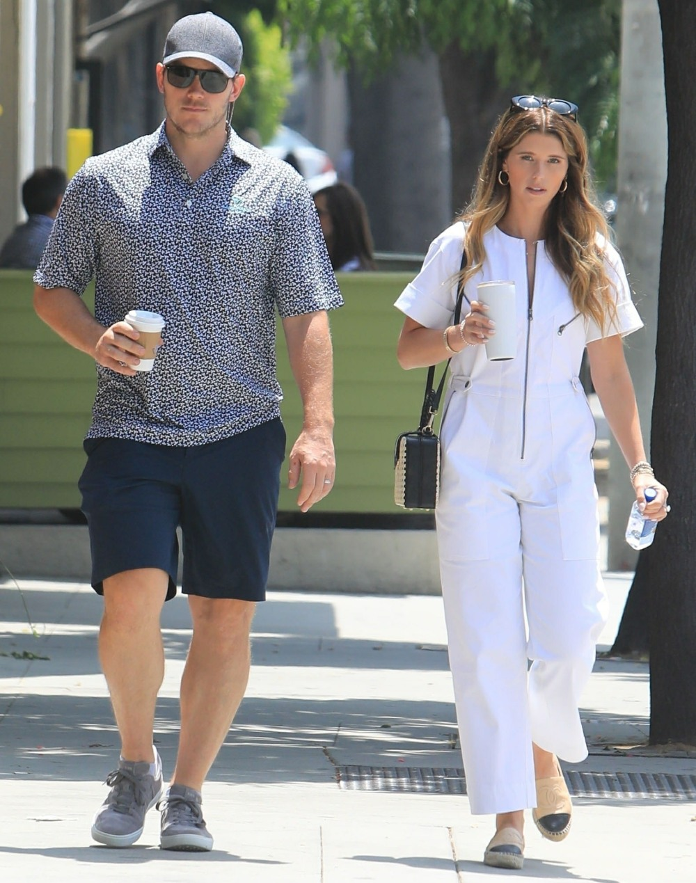 Chris Pratt and wife Katherine Schwarzenegger go out and about in West Hollywood with coffee in hand