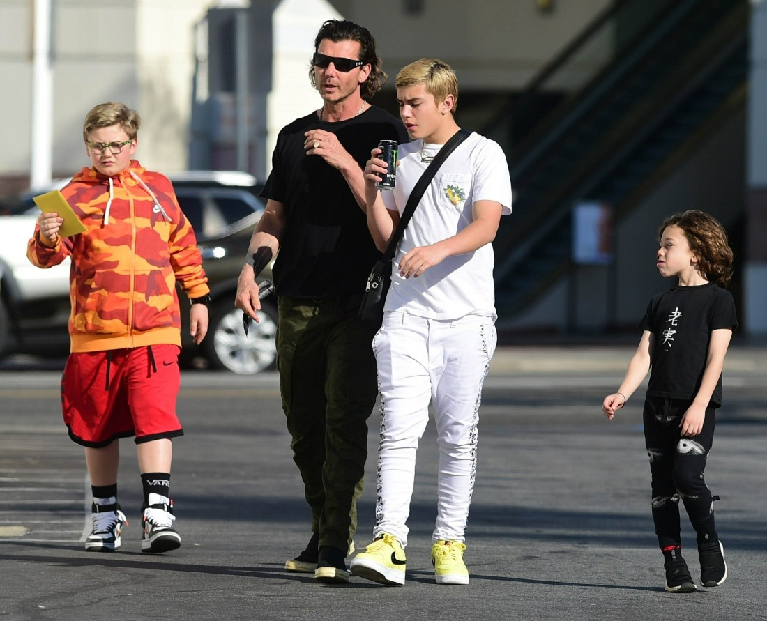 Gavin Rossdale, Kingston Rossdale, Zuma Rossdale and Apollo Rossdale are seen in Los Angeles
