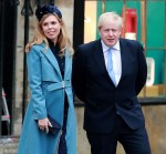 Boris Johnson and his pregnant fiancee Carrie Symonds are seen leaving Westminster Abbey