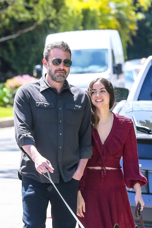 Ben Affleck and girlfriend Ana De Armas all smiles walking their dogs