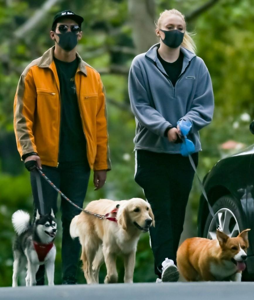 Joe Jonas and Sophie Turner keep up with their Dog Walks