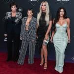 Kris Jenner, Kourtney Kardashian, Khloe Kardashian and Kim Kardashian West arrive at the 2019 E! People's Choice Awards held at Barker Hangar on November 10, 2019 in Santa Monica, Los Angeles, California, United States.
