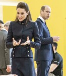 The Duchess of Cambridge talks with wheel chair patients taking part in wheel chair basket ball duri...