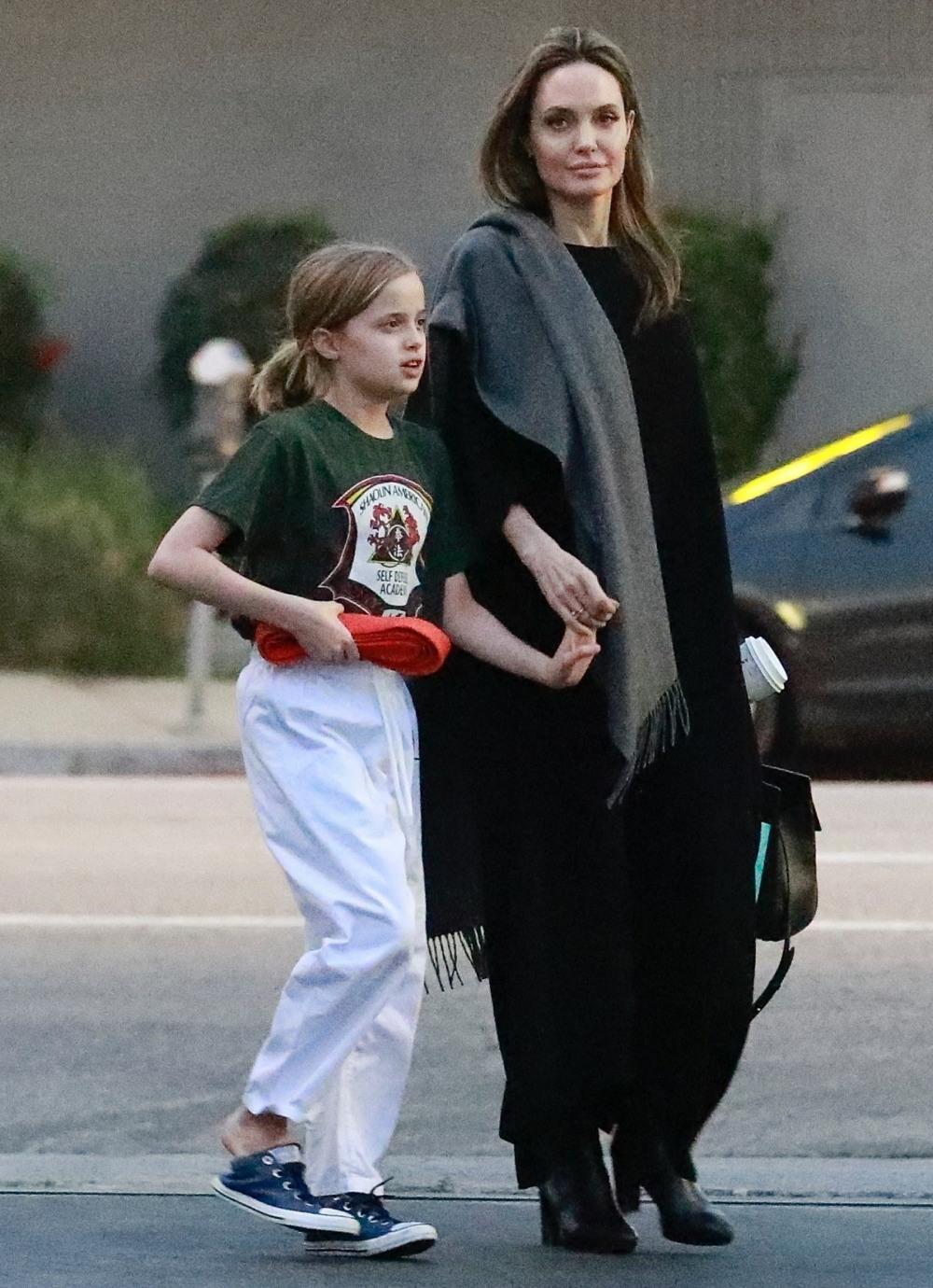 Baby Health in Winter Angelina Jolie picks up Vivienne after her karate class