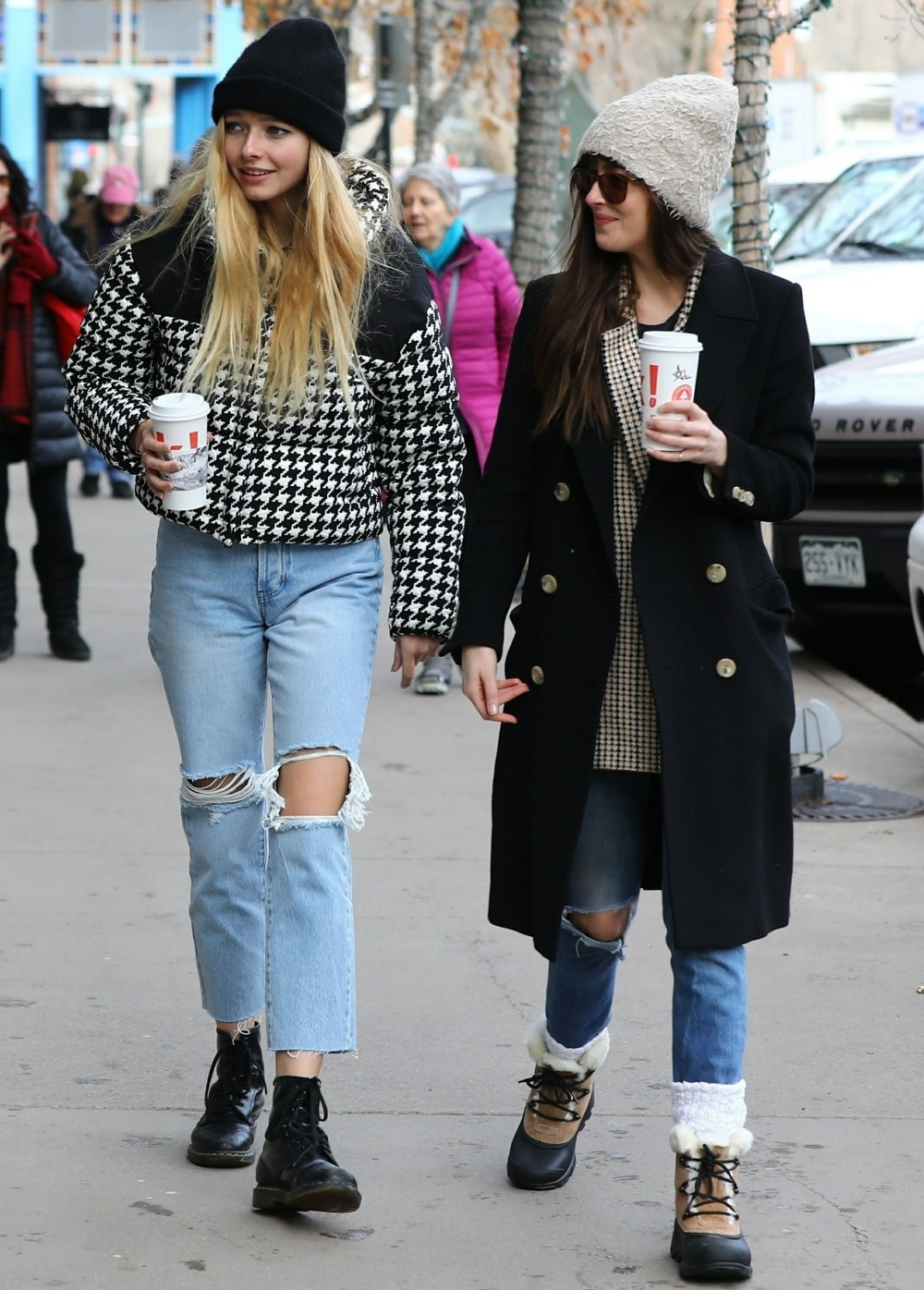 Dakota Johnson and Apple Martin go out for hot coffee in cold Aspen together
