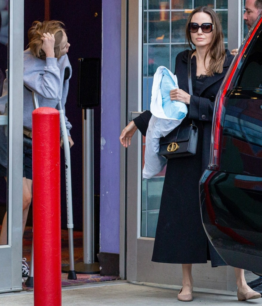 Angelina Jolie goes to a movie with her kids in LA