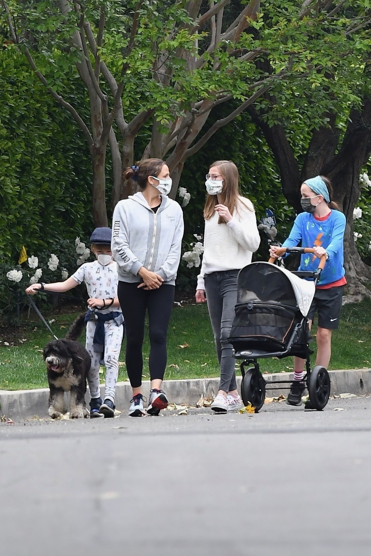 Jennifer Garner goes for a walk with her kids and the family pets