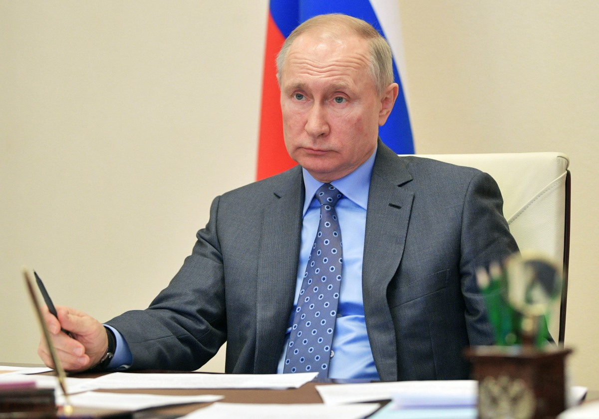 RUSSIA-MOSCOW-PUTIN-VIDEO CONFERENCE