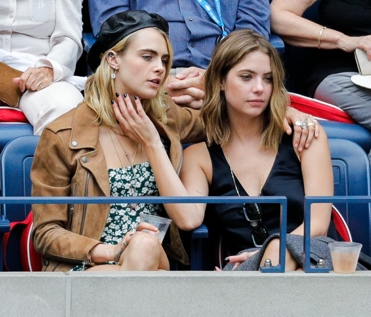 Cara Delevingne and Ashley Benson attend the Women's Singles final match of the 2019 US Open at the USTA Billie Jean King National Tennis Center on September 07, 2019