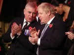 Prince Andrew, Duke of York and Prime Minister, Boris Johnson attend the annual Royal British Legion Festival of Remembrance at the Royal Albert Hall on November 09, 2019 in London, England.