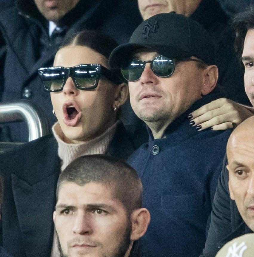 Leonardo DiCaprio and Camilla Morrone attend the Paris Saint-Germain vs Liverpool match in Paris