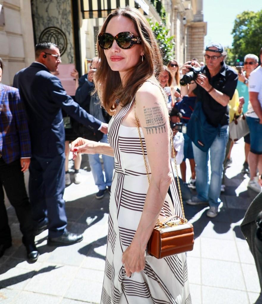 Angelina Jolie leaves Guerlain boutique and heads back to Hôtel de Crillon
