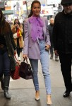 Jessica Mulroney wears a denim and purple blazer top while heading to lunch