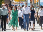 King Felipe of Spain and Queen Letizia of Spain take a walk on promenade of Platja de s'Arenal in Palma de Mallorca