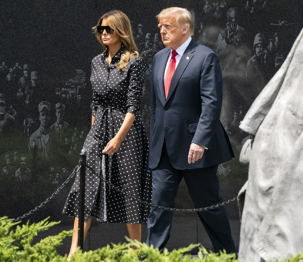 President Trump lays wreath at Korean War Memorial in DC