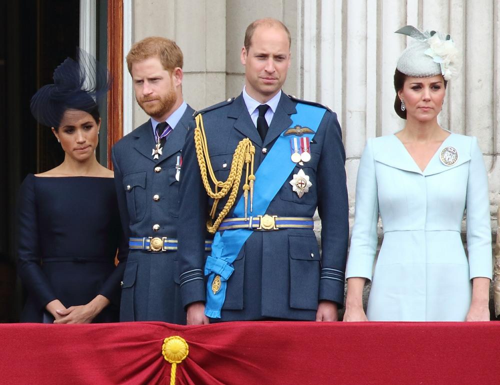 Meghan Duchessa del Sussex, Prince Harry, Prince William, Catherine Duchess of Cambridge in occasione del 100 ° anniversario della Royal Air Force, Buckingham Palace, Londra, Regno Unito martedì 10 luglio 2018