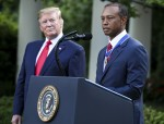 President Trump presents the Medal of Freedom to Tiger Woods