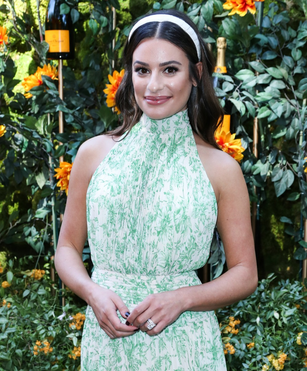 Lea Michele arrives at the 10th Annual Veuve Clicquot Polo Classic Los Angeles held at Will Rogers State Historic Park on October 5, 2019 in Pacific Palisades, Los Angeles, California, United States.