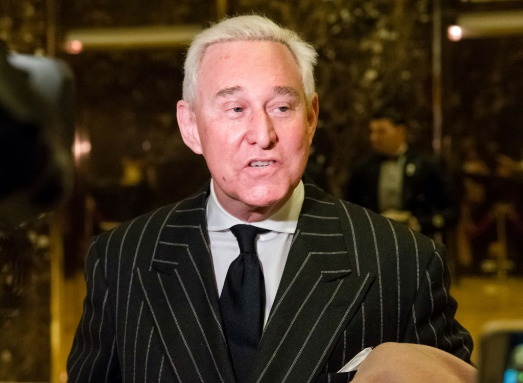 Conservative lobbyist and consultant Roger Stone talks to press at Trump Tower