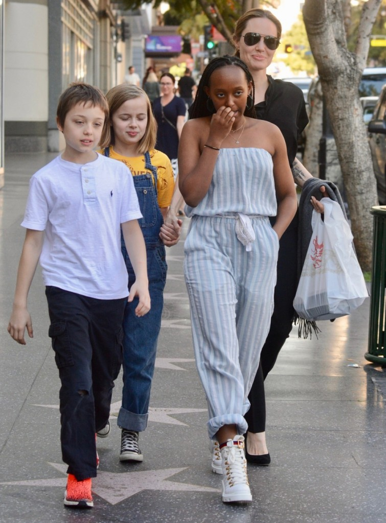 Angelina Jolie treats herself and three of her children to sushi out in Hollywood