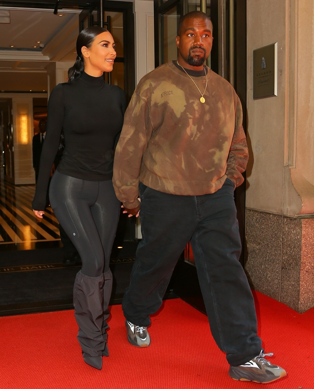 Kim Kardashian and husband Kanye West seen holding hands in NY