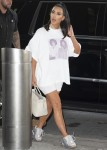 Kim Kardashian reps music icons Michael Jackson and Prince at JFK Airport