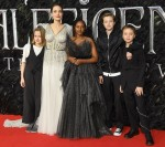 Angelina Jolie and kids at Maleficent: Mistress of Evil - London Premiere held at the Odeon BFI IMAX.