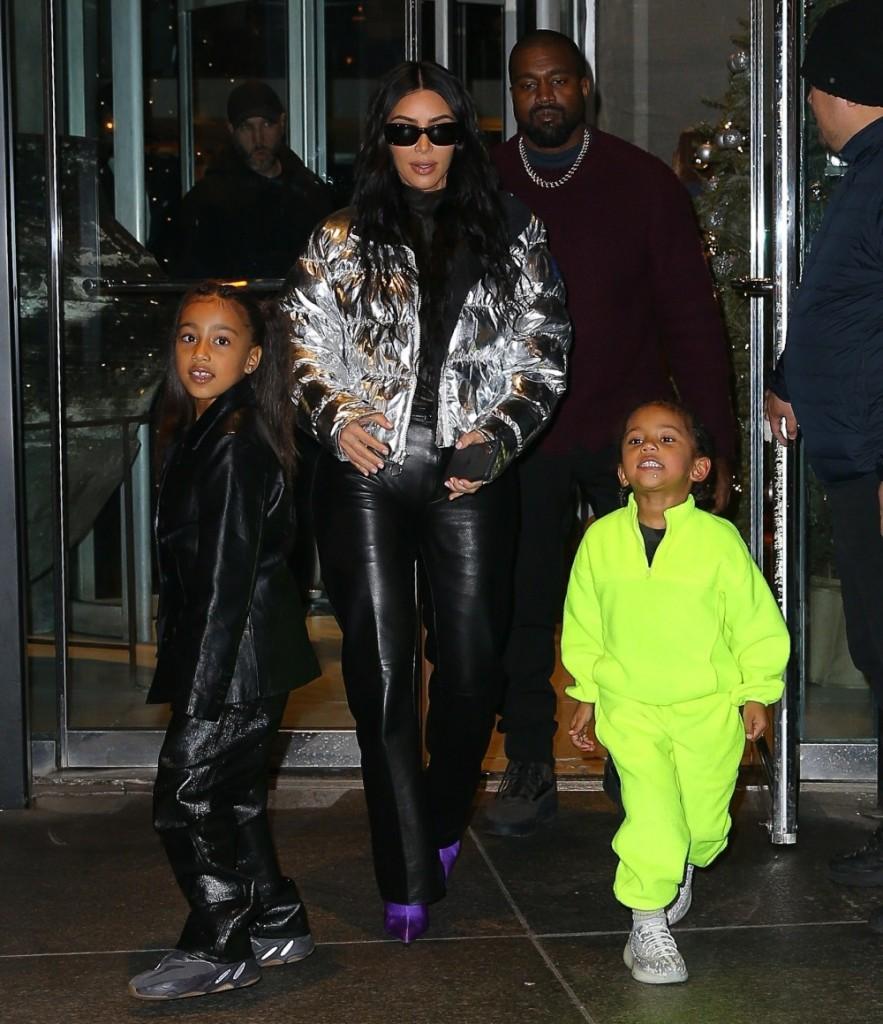 Kim Kardashian and Kanye West leave Milos restaurant with their kids