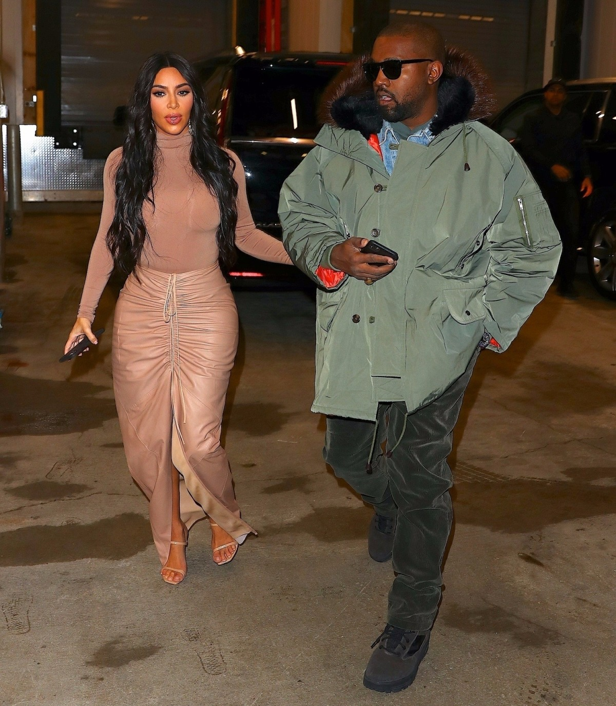 Kim Kardashian and Kanye West arrive to Nordstrom for her Skims meet & greet
