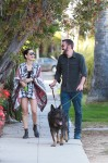 Ben Affleck and Ana de Armas take their dogs out for an evening stroll