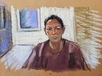 Ghislaine Maxwell is seen in this court sketch as she appears before NY Judge Alison Nathan
