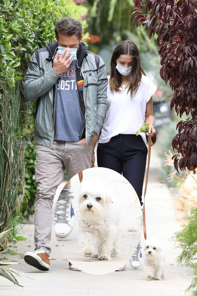 Ben Affleck and girlfriend Ana de Armas taking the dog for a walk