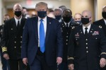 President Donald Trump arrives at Walter Reed to visit with wounded military members