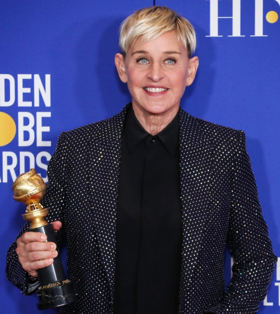 Comedian Ellen DeGeneres wearing Celine poses in the press room at the 77th Annual Golden Globe Awards held at The Beverly Hilton Hotel on January 5, 2020 in Beverly Hills, Los Angeles, California, United States.