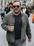 Ricky Gervais seen arriving at Global studios